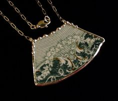 Broken china jewelry necklace by Dishfunctional Designs. antique teal english transferware ivy