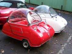 White and red Trident Peel cars