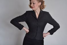 1950s Hand Tailored Charcoal Suit Jacket #vintage #agentcarter #1940s #1950s #jacket