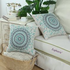 "Amazon.com - Euphoria CaliTime Home Decor Cushion Covers Pillows Shell Cotton Linen Blend Floral Compass Medallion Turquoise Color 18"" X 18"" -"