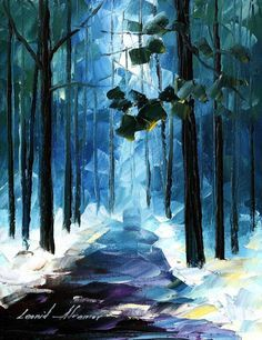 Leonid afremov winter forest
