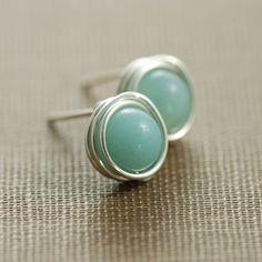 Post Earrings, Amazonite Wrapped in Sterling Silver, Sky Blue Gemstone Earrings Handmade. $14.00, via Etsy.