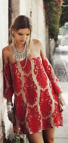 Red boho off-shoulder dress; Red; Creme; Short; Leg; Nude; Tan; Necklace; Layered; Silver; Thin; Statement; Delicate; Bracelet; Bangle; Chunky; Ring; Chain link; Makeup; Eye; Smokey; Lip; Brown; Chocolate; Cocoa; Summer; Spring; P69