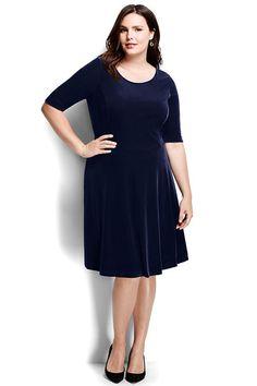 Women s elbow sleeve velvet a line dress