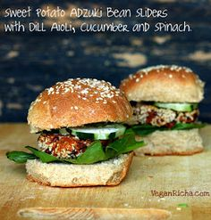 Vegan Richa: Sweet Potato Adzuki Bean Burger Gameday Sliders with Spinach, Cucumber, Dill Aioli. Vegan Recipe
