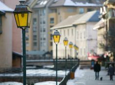 Street lamps in Old Town, Annecy, French Alps, Savoie, Chambery, France.