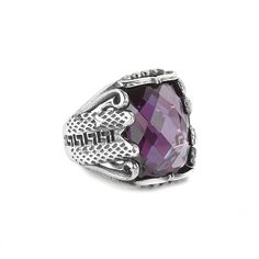 Men Ring 925 Silver, Purple Tourmaline Size 9-10-11 US Men's Gemstone Jewelry #IstanbulJewellery #Statement