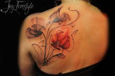 Watercolor poppies on the left shoulder blade.