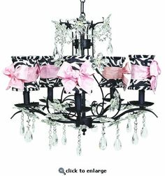 5-Arm Cinderella Black Chandelier with Zebra with Pink Sash Bow Hourglass Shades