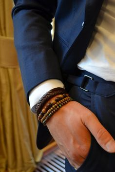 Wood beads leather men's bracelets Jewellery Jewelry