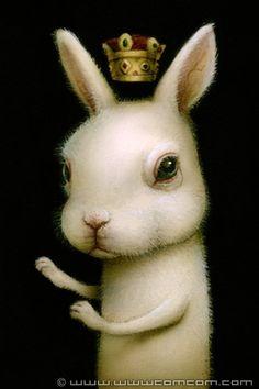 "Naoto Hattori ""Rabbit Prince"" acrylic on board art painting surreal pop surrealism Arte Lowbrow, Pop Art, Rabbit Art, Arte Horror, Creepy Cute, Weird Art, Gothic Art, Surreal Art, Illustrations"