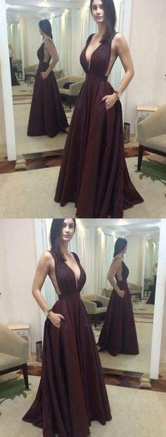Sexy Prom Dress, Burgundy Prom Dresses, Deep V-neck Evening Dress D30046#longpromdress#promdress#eveningdress#