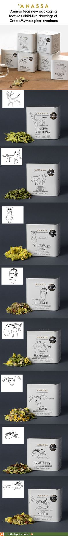 Anassa's new packaging for their teas features scribbled little Greek mythological characters.