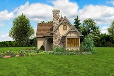 One Bed Tiny House Plan - thumb - 12 Cottage House Plans, Tiny House Plans, Cottage Homes, Cottage Art, Fairytale Cottage, Storybook Cottage, Backyard Sheds, Backyard Retreat, Architectural Design House Plans