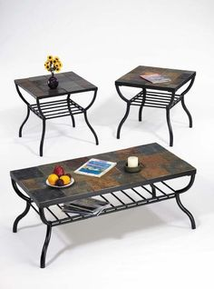 Metal Coffee Table With Slate Tiles Brings A Cold Accent Into The Interior