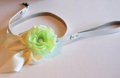 Green Custom dog Leash, Pet accessory, Green Wedding accessory,Green Floral dog Leash, Green Wedding idea