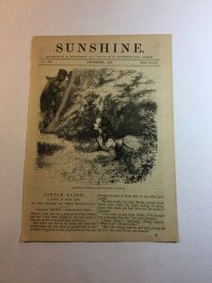 Vintage Book Page  Sunshine  December 1876  by LaFlounce on Etsy