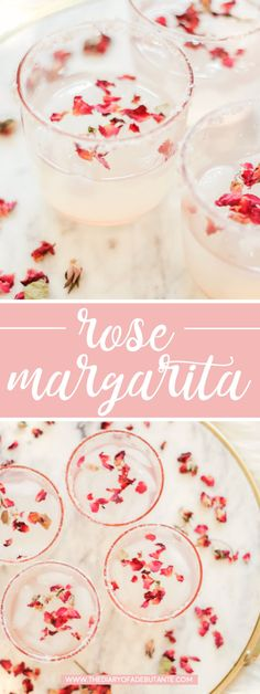 Delicious rose margarita recipe! This refreshing spring cocktail is made with rose water, lavender syrup, tequila, Cointreau, and lemonade, and it's not too sweet and not too tart! | rose water alcoholic drinks | best natural rose water | rose water safe to drink | Refreshing rose margarita recipe adapted from Meanwhile in Belfast by southern lifestyle blogger Stephanie Ziajka from Diary of a Debutante