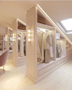 Dream Closets, Dream Rooms, Open Closets, Beautiful Closets, Dressing Room Design, Dressing Rooms, Loft Room, Attic Spaces, Wardrobe Design