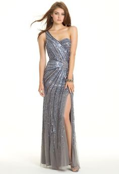 One Shoulder Beaded Mesh Sunburst Prom Dress from Camille La Vie and Group USA