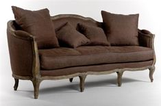 Brown French Provincial Couch with cushions