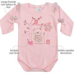 Body Bebê Feminino Passarinho Rosa - Patimini :: 764 Kids | Roupa bebê e infantil