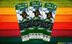 Teenage Mutant Ninja Turtles Birthday Invitation TICKET - Digital File. $7.00, via Etsy.
