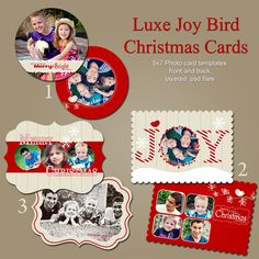 0412-4 LUXE Christmas Holiday Photoshop PSD Photo Card Template for Photographers - Joy - Millers, Whcc or Mpix. $12.00, via Etsy.
