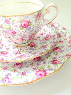 English Royal Standard Fine Bone China Rose Chintz Pattern Teacup, Saucer and Dessert Plate Trio Tea Party - Ca. 1960's