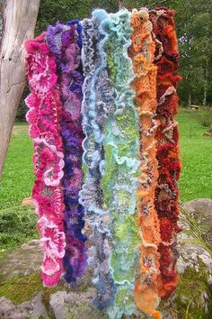 Freeform crochet scarves.