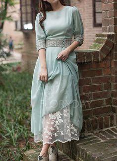 Dresses - $60.92 - Chiffon Solid Half Sleeve Mid-Calf Vintage Dresses (1955114959)