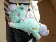 "10""Sanrio Little Twin Stars Blue Unicorn Bag Charm Animal Doll Plush Stuffed NWT"