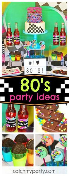 Check out this totally cool retro birthday party! The dessert table is awesome! See more party 80s Party Foods, Party Food Themes, Dance Party Themes, Retro Birthday Parties, Retro Party, 40th Birthday, 1980s Party Decorations, Birthday Party Decorations, 18th Birthday Party Themes