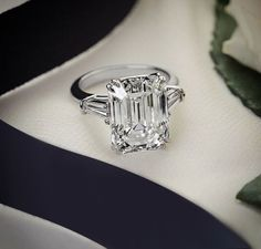 Certified 3.35CT White Emerald Cut Diamond Propose Engagement Ring 14K Gold
