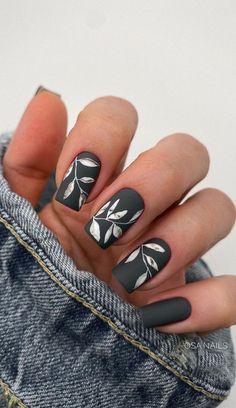 Navy Nails, Matte Black Nails, Pink Nails, Black Matte Acrylic Nails, Navy Nail Art, Black And White Nail Art, Minimalist Nails, Chic Nails, Stylish Nails