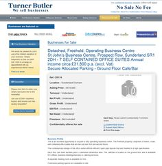 Businesses for sale Detached, Freehold, Operating Business Centre St John's Business Centre, Prospect Row, Sunderland SR1 2DH Ref. CR174 Location Sunderland Durham Asking Price £475,000 TurnerButler we sell business Rupert Cattell Businesses for sale Testimonial Successful Business Broker #Businesstransferagent #Sell your Business # New business opportunity #Business details updated