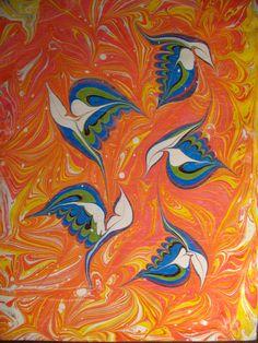 Ebru-birds. (Paper)