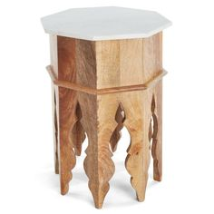 This table mirrors the exquisite arches found in Moroccan architecture. A wood base is elevated with a chic marble top, making this unique table a must for your eclectic decor. Moroccan Decor Living Room, Morrocan Decor, Moroccan Interiors, Living Room Decor, Bedroom Decor, X 23, Denver, Moroccan Side Table, Marble Wood