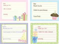 Kids birthday thank you cards