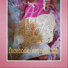 Traje NB rosa y crema con punto piña  www.facebook.com/arteguaili