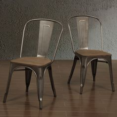 Vintage charm blends with industrial chic in this Tabouret bistro side chairs. The sturdy metal seats are finished with a scratch and mar-resistant powder coat, while the vintage-look wooden seat creates a warm, inviting aesthetic.
