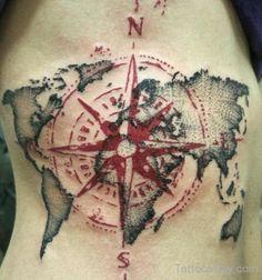 Compass Tattoo Symbolism & Meaning Gives True Direction Map Tattoos, Neue Tattoos, Bild Tattoos, Pin Up Tattoos, Body Art Tattoos, Sleeve Tattoos, Cool Tattoos, Tatoos, Compass And Map Tattoo