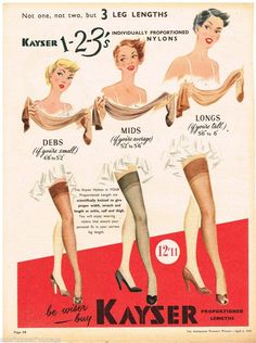 KAYSER AD NYLONS LINGERIE WOMENS FASHION Vintage Advertising 1952 Original