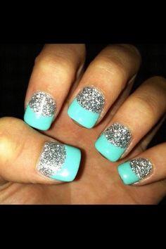 Lovely Ideas Make Manicure 2016 Glitter-Nails. Fancy Nails, Love Nails, How To Do Nails, Pretty Nails, My Nails, Teal Nails, Silver Nails, Nails Turquoise, Shellac Nails