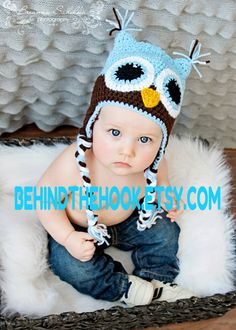 Owl Hat Baby Owl hat Newborn Owl Hat baby Blue by Behindthehook, $18.75 How adorable! #owl #crochet #babyhat
