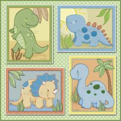 Set of four Baby Dinosaur Prints