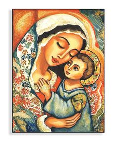 Madonna and Child, Mary and Jesus, folk art icon, religious painting, mother and… Mary Jesus Mother, Blessed Mother Mary, Divine Mother, Mary And Jesus, Mother And Child, Mother Art, Madonna Und Kind, Madonna And Child, Religious Icons