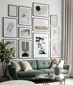 Classy Greens gallery wall Decor, Minimalist Wall Art, Green Decor, Gallery, Room Color Schemes, Online Wall Art, Gallery Wall Living Room, Condo Living Room, Inspiration Wall