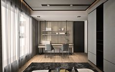 THEE dseign group 2018 work Suzhou garden Small Space Interior Design, Interior Work, Home Office Design, Apartment Interior, Interior Design Living Room, Interior Architecture, Resource Furniture, Furniture Ideas, Study Rooms
