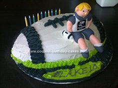 Homemade Rugby Cake: This Rugby Cake I made for my nephew Blake, he turned 10 and is a rugby fan, particular the South African Sharks team, thus I made a Sharks cake.  It was